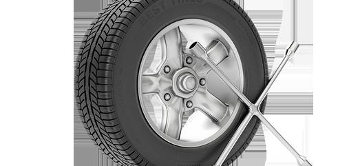 Däck och verktyg som behövs för att efterdra hjulbultarna